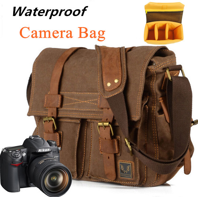 Vintage Waterproof DSLR Camera Bag Canvas + Leather Messenger Shoulder Bags For Nikon Sony Canon free shipping(China (Mainland))