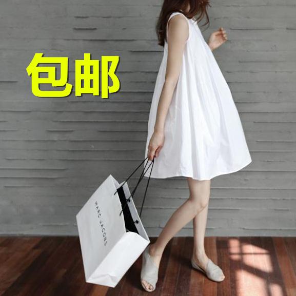 Maternity summer long sleeveless Korean loose cotton sundress summer dresses for pregnant women pregnant high quality(China (Mainland))
