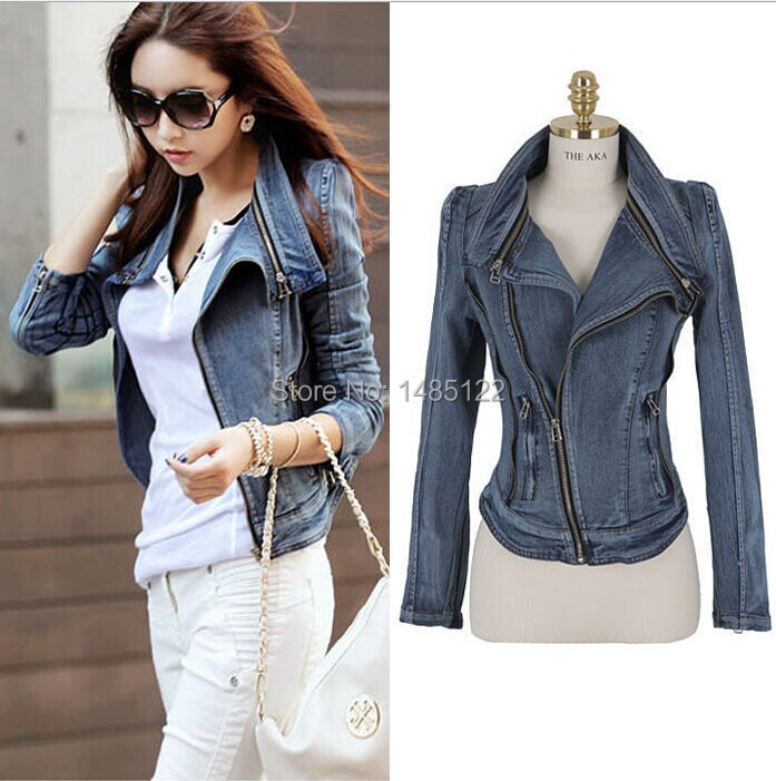 New women Denim jacket jeans coat casual jaket women Zipple Rivet long sleeve Punk chaquetas ...