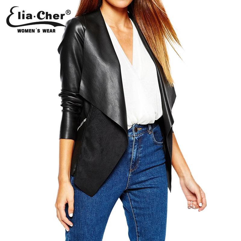 Кожаная куртка 2015 зимняя куртка женщин eliacher бренд шикарный мода большой размер свободного покроя женщин зимняя куртка пальто одежда