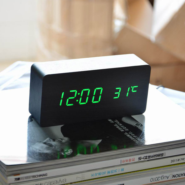 Sounds Control Alarm Clocks, Thermometer LED Digital Clock,Wood wooden Big Numbers Table Clock, Desktop Clock(China (Mainland))