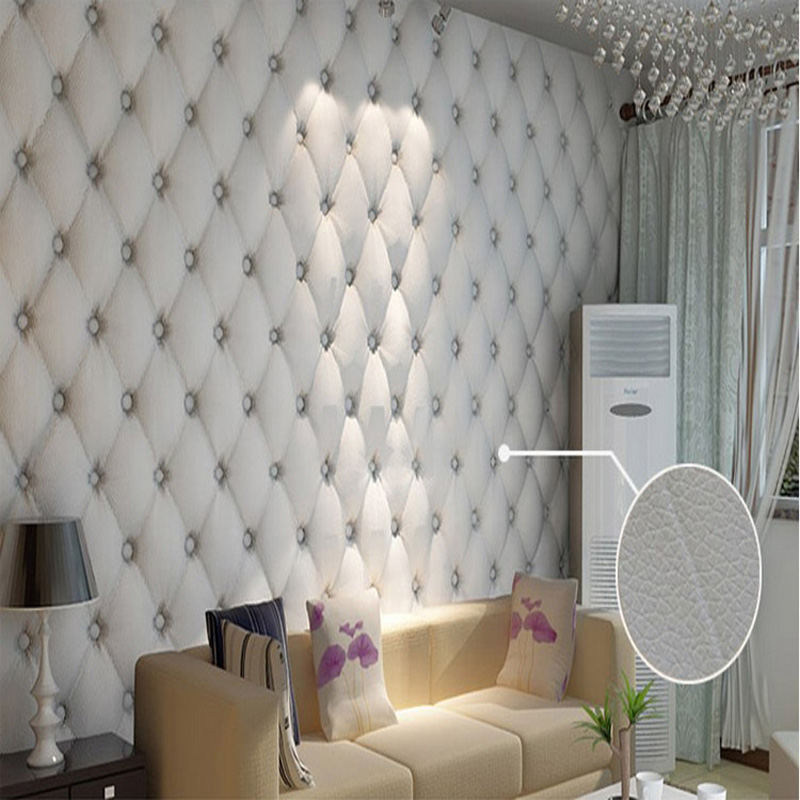 Modern Faulse Leather Softbag 3d Wallpaper Pvc Diamond Sofa Tv