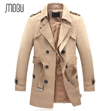 MOGU New Arrival 2017 Trench Coat Men Black Fashion Trench Men Khaki Trench Coat Men Outerwear Men's Trench Coat Jackets(China (Mainland))