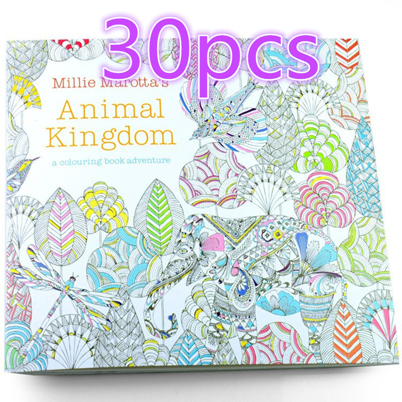Wholesale 30pcs Enchanted Forest Antistress Coloring Book Children Adult Relieve Stress Painting Free Shipping