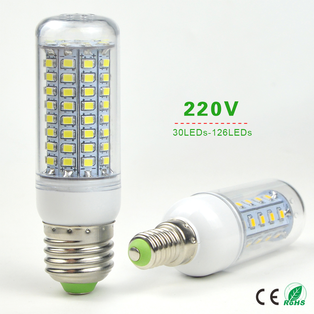 E27 E14 High power 220V Christmas lights LED bulb lamp Warm White / white 30 36 48 56 69 89 102 126LEDs 2835 lampada Replace CFL(China (Mainland))
