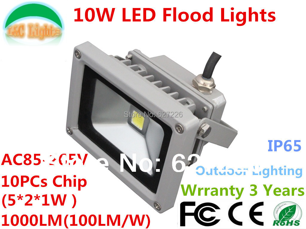 Hot!!! Free Shipping Factory Supply 85-265V Warranty 3 Years CE RoHS High Quality Super Bright 10 Watt LED Floodlight<br>