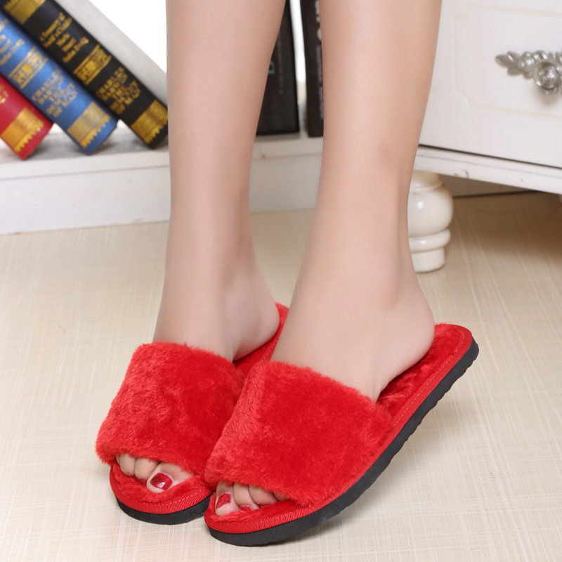 New big size women indoor slippers winter room shoes cute candy colour soft comfortable slipper winter