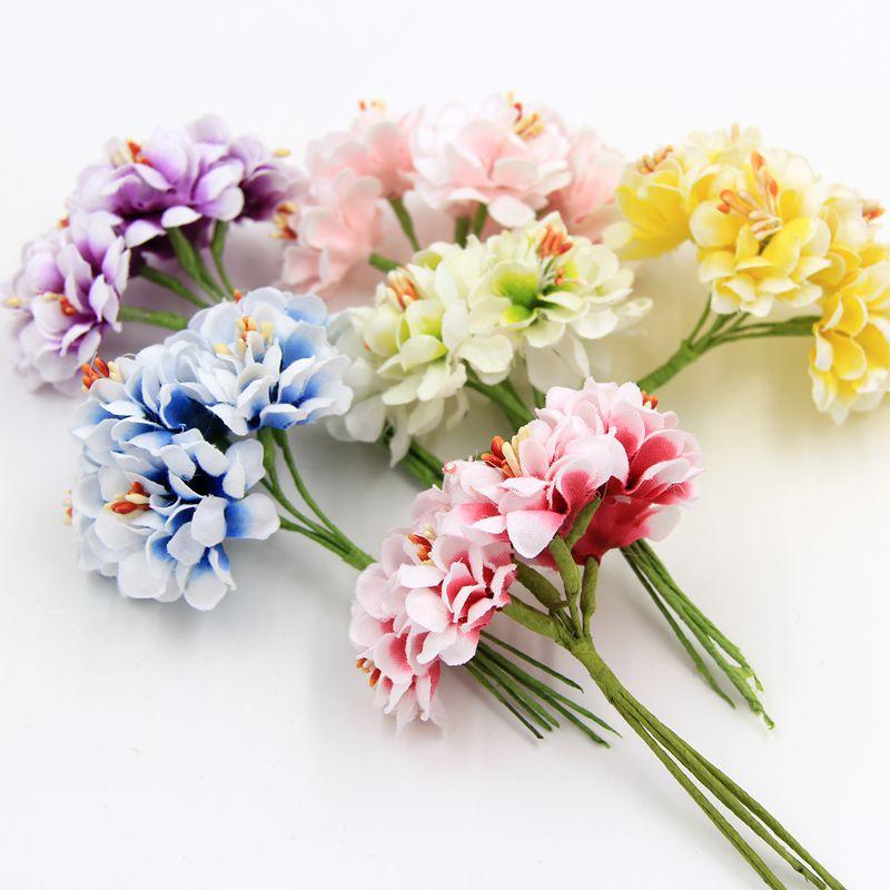 6pcs Silk Gradient Stamen Handmake Artificial Flower Bouquet Wedding Decoration DIY Wreath Gift Scrapbooking Craft Fake Flower(China (Mainland))