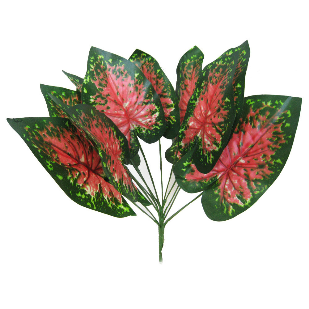 New Decoration Simulation Plants Green Bunch of 14 Large Artificial Leaves Foliage Tropical Fake Silk Craft Decoration(China (Mainland))