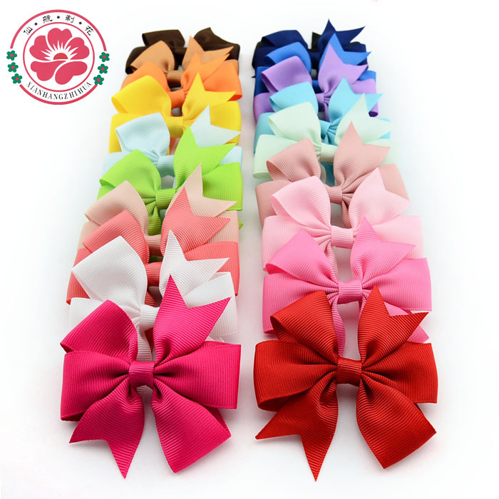 ( 20 pcs/lot) High Quality 3 inch Grosgrain Ribbon Boutique Hair Bows With Clip Hairpins For Kids Girl Hair Accessories 564(China (Mainland))