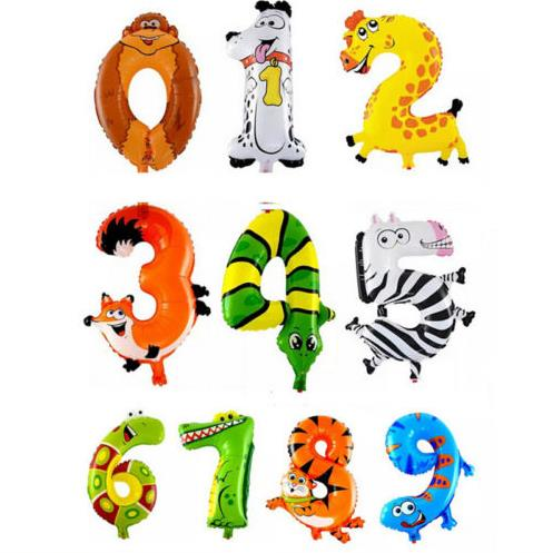 1Pcs Cartoon Animal Number Foil Inflatable Balloons Wedding Happy Birthday Decoration Air Balloons Party Balloon kids Gifts(China (Mainland))