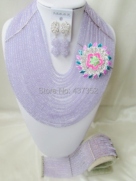 Amazing New 20 layers Lilac Light Purple Lavender Crystal Beaded Nigerian Wedding Beads African Beads Jewelry Set CPS4402<br><br>Aliexpress