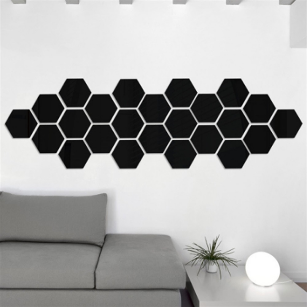 Hexagonal Box Stereoscopic Character Decorative Mirror Wall Stickers ...