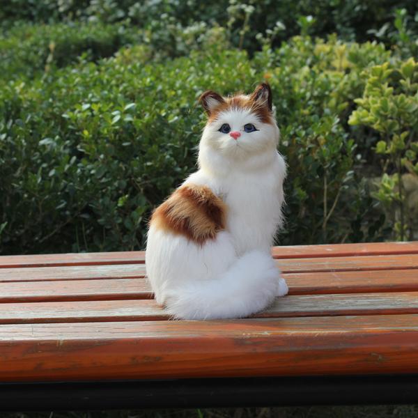 Cute Samll Plastic Figurines Miniature Novelty Gifts Bulk Cat Toys Plush Fur Real Simulation Lifelike Cat(China (Mainland))