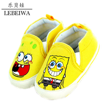 High Quality Boys Girls Shoes Newborn First Walkers Cartoon SpongeBob Prewalker Children Canvas Shoes 0-1 Years Anti Slip Shoes(China (Mainland))
