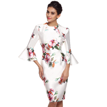 FINEJO 3D Print Flora Back Zipper Summer Autumn Dress Ladies O-neck 3/4 Flare Sleeve Satin Knee Length Dresses Plus Size XXL(China (Mainland))