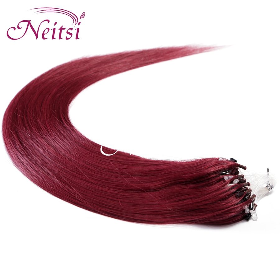 "Neitsi Super Micro Loop Ring Links Hair Extensions Kinky Straight 20"" 1g/s 100g Indian Remy Hairpieces 530# Soft Natural Hair(China (Mainland))"