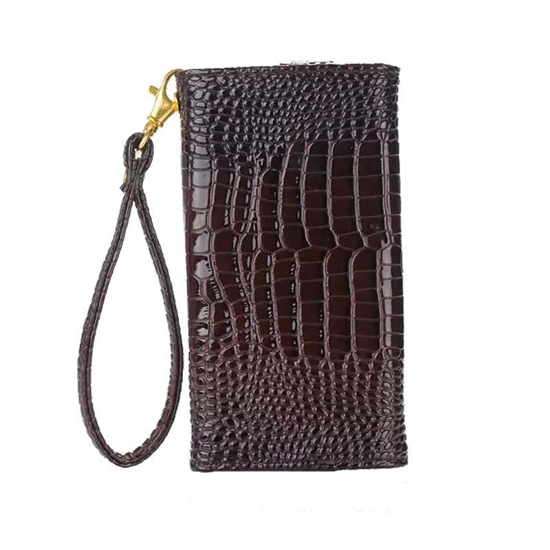 Crocodile leather universal phone pouch case For huawei honor 3C Ascend P6 P7 luxury flip cover handbag Wallet bag cases(M)(China (Mainland))