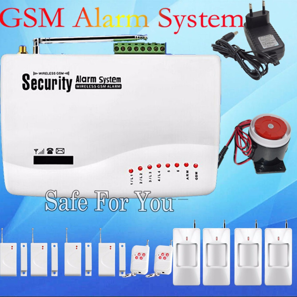 Free shipping High quality gsm alarm system 433MHz for Wireless 4pcs Door magnetic sensor 4pcs Infrared detection Alarm system(China (Mainland))