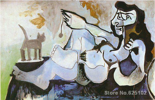 Lying female nude playing with cat,most famous paintings For sale,Home Decor,Hand-painted,High quality(China (Mainland))