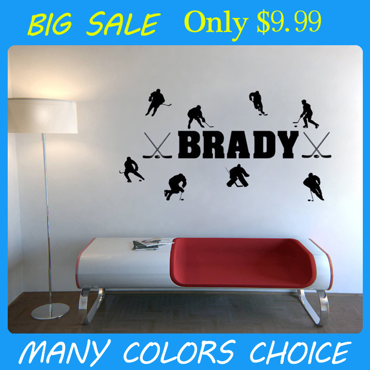 Personalized Name & Hockey Players wall decals vinyl stickers home decor living room wall pictures bedroom wallpaper(China (Mainland))