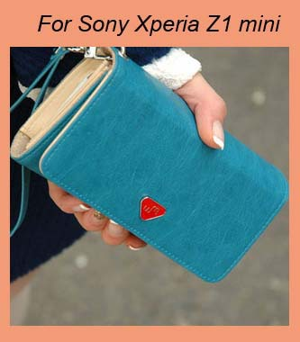 TOP Quality PU Leather wallet /Smart phone bag case for Sony Xperia ( Z3 / Z4 Compact ) Xperia Z1 mini M51w/ZR SP M2 Xperia L(China (Mainland))