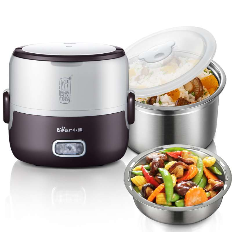 Brand 1.3L Multifunctional two layers electric heating lunch box heating and steaming food(China (Mainland))