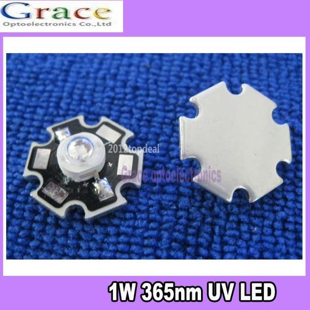 10pcs 1W 365nm UV LED ultraviolet LED lamp light High Power bead with 20mm base