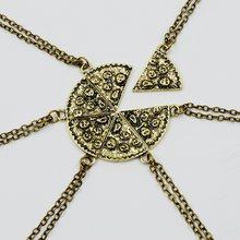 6 sztuk/zestaw breloczek pizza naszyjniki BFF najlepsi przyjaciele naszyjnik przyjaźni kreatywny srebrny złota dla mężczyzn prezenty urodzinowe dla kobiet biżuteria(China)