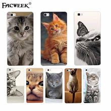 Cute Meng Meng Cat Cases Coque Fundas For Huawei P8 Lite Accessories Transparent Clear Soft Silicone Back Cover Phone Case