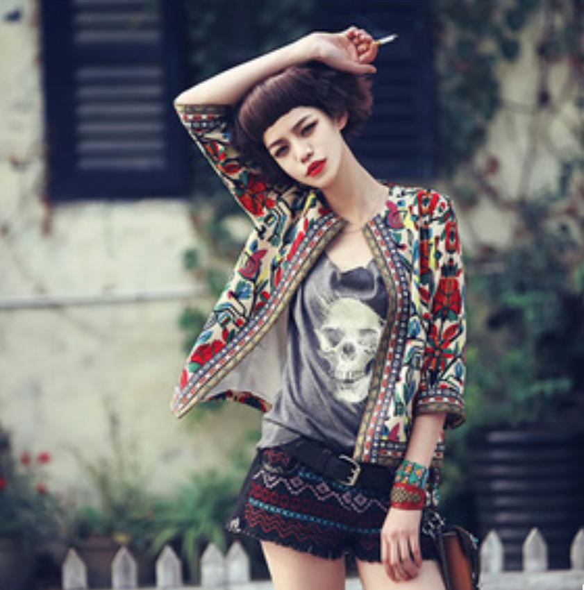 Embroidery Printing Folk Style Women Jacket Female Cardigans Long Sleeve Cardigan Coat Jacket Outwear Tops RE743(China (Mainland))