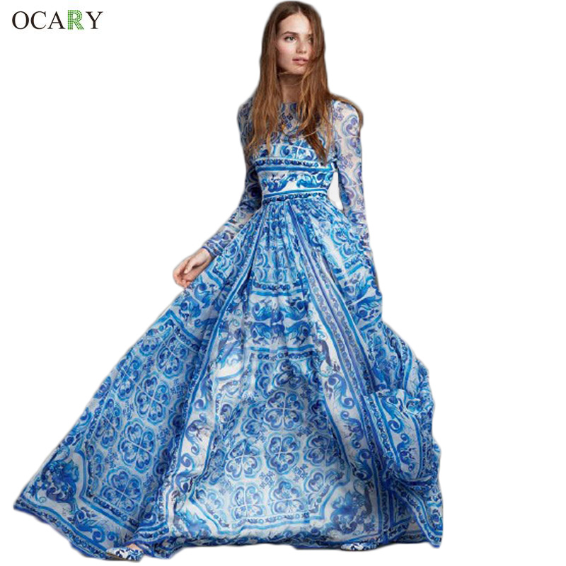 Luxury Women Maxi Bohemian Dress Vintage Floral Print Dress Royal Elegant Ladies Party Dress 2016 Spring Summer Fashion Vestidos