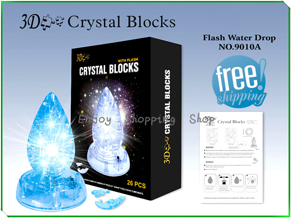 DIY Water-drop with light cubic fun 3d puzzle crystal model building brinquedos educativos educational kids toys for children(China (Mainland))