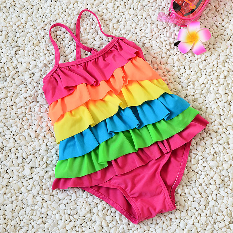 Children Swimwear 6 Layers Flounce Rainbow One Piece strap Girl Baby Swimsuit 2t to 8t M/L/XL girls swimming wear(China (Mainland))