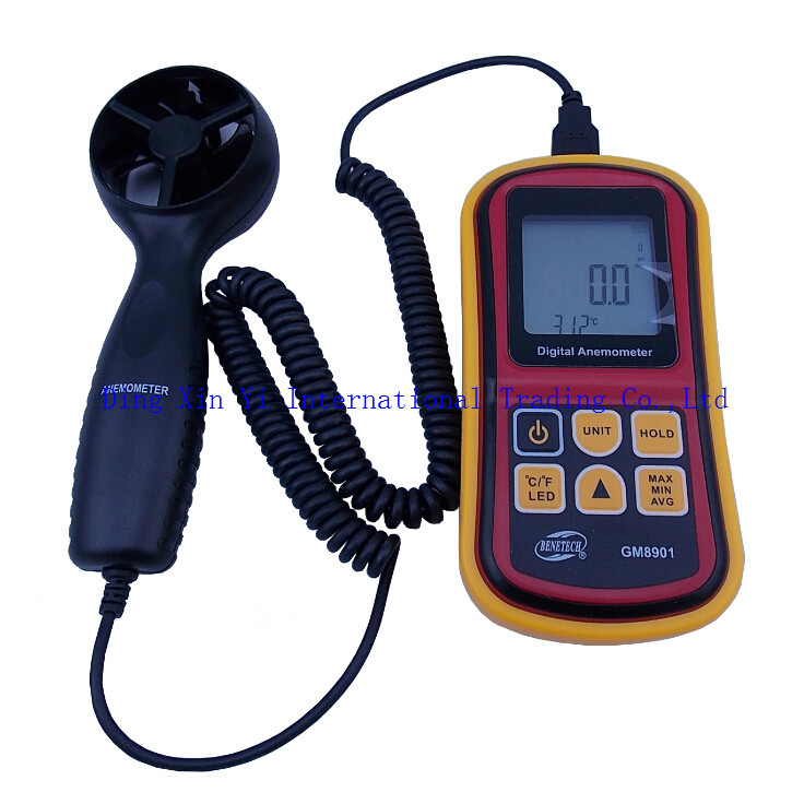High Quality GM8901 Hand Held Anemometer 0.3 to 45meter per second Thermometer LCD Digital Electronic Handheld Wind Speed Meter