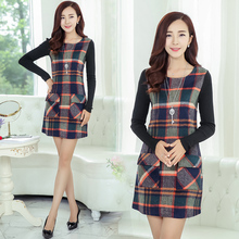2015 Autumn And Winter New Style Women Fashion Plaid Wool Dress Female High Quality Brand Casual Long Sleeve Warm Dress H5474