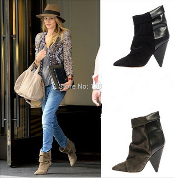 2015 Hot Sale Point Toe Women Pumps High Heels Motorcycle Boots Black Grey Suede Boots Cowboy Boots Slip On Shoes Woman(China (Mainland))