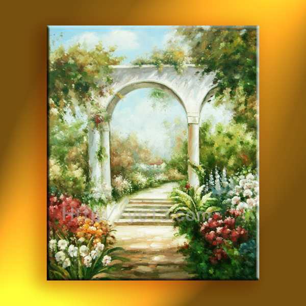 2015 Fashion Garden View oil painting hand painted landscape high Quality artwork on canvas(China (Mainland))