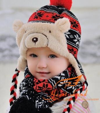 Бесплатная доставка теплый толстый зима младенческой ребенка шляпу шарф комплект earflap малыш ребенок мальчик девочка хлопка синий красный серый аксессуар крышки шаль