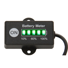 Free shipping LED 5 BAR display mini battery meter battery indicator 12/24V for motorcycle golf carts test voltage of battery