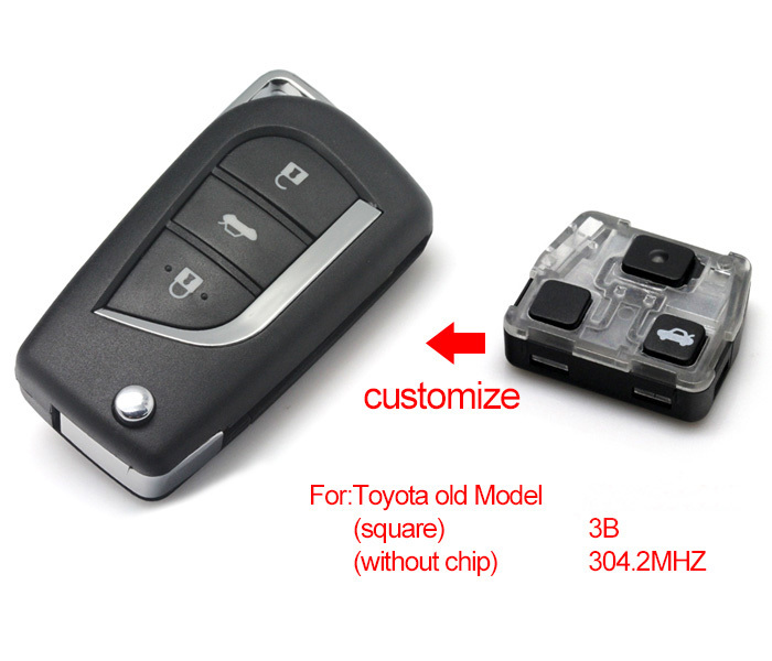 2014Newest Item Brand New Modified Folding Flip Remote Key Keyless 3 Button For Old Toyota 304MHZ (Without Chip)(China (Mainland))