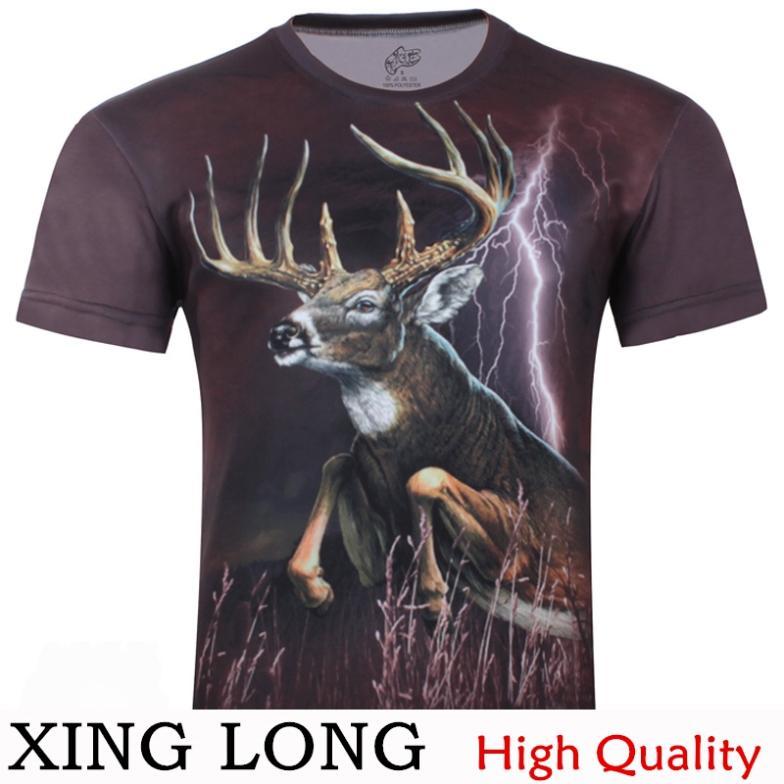 Men's fashion trends elk 3d rendering shirt printing short-sleeve original compassionate personality short-sleeved T-shirt(China (Mainland))