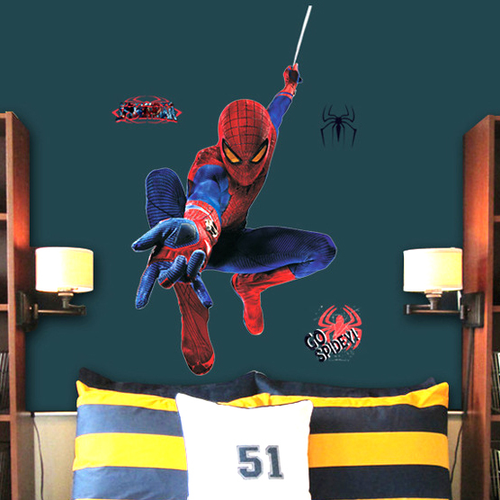 large 3d spiderman wall sticker for kids removable wall