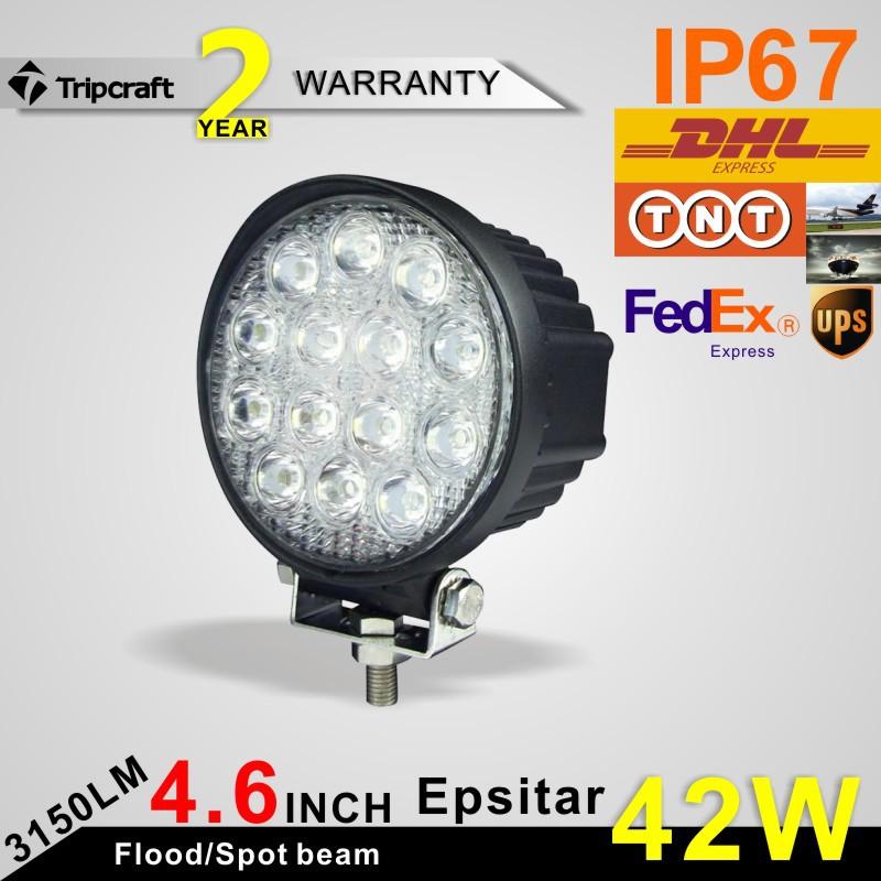 2*42W LED Work Light Bar LED Driving External Lights CREE/EPISTAR OffRoad SUV ATV 4WD UTE Spot/Flood Beam Headlights Waterproof<br><br>Aliexpress