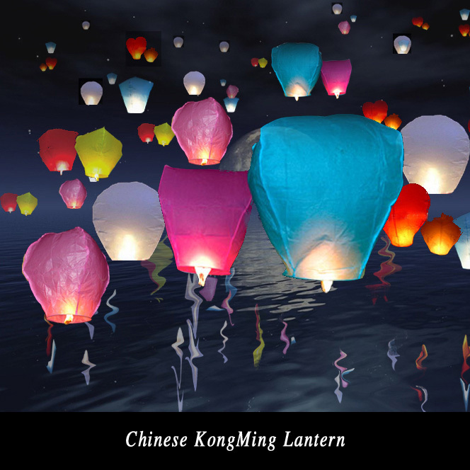Diy 5Pcs Chineses Sky Paper Lanterns Lamps Flying Wishing Lantern Decor For Outdoor Party Decoration Balloon UFO Assorted Color(China (Mainland))