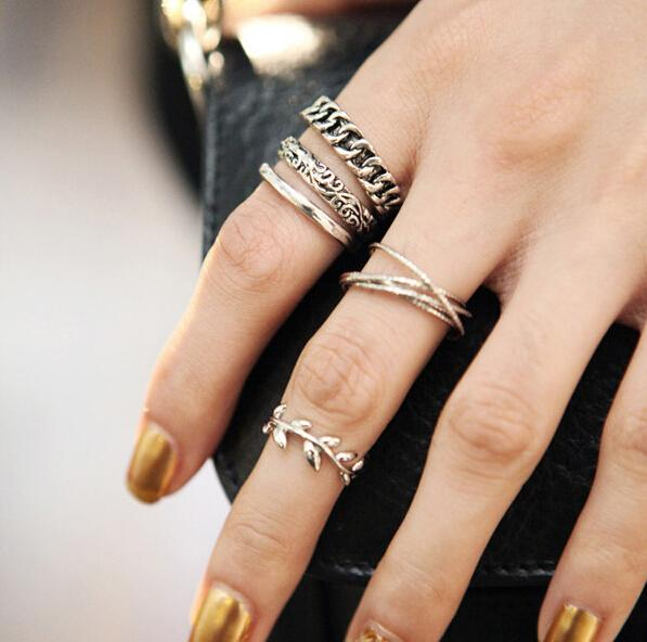 5 PCS Vintage Punk Metal Leaf Flower Knuckle Ring Set For Women Anel feminino Hollow Anillos