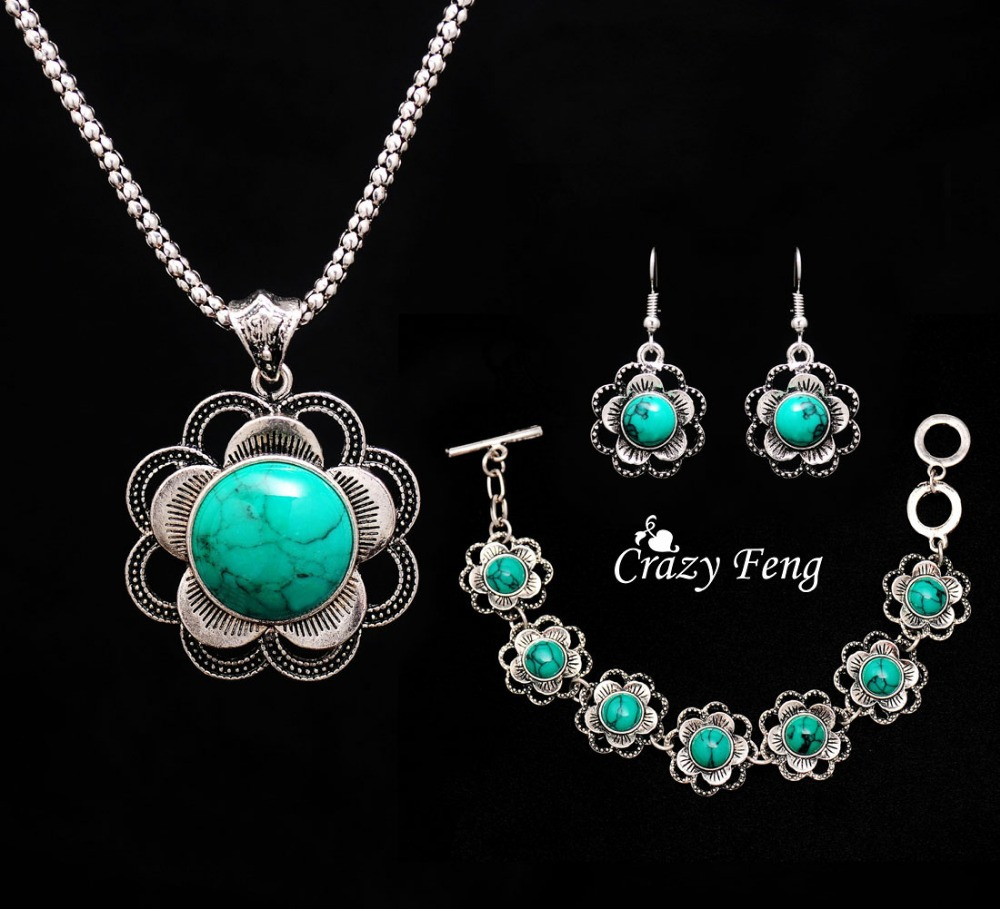 Trendy Women flowers tibetan silver Turquoise Crystal Jewelry Sets party wedding women gift Jewelry Sets 1 set Free shipping(China (Mainland))