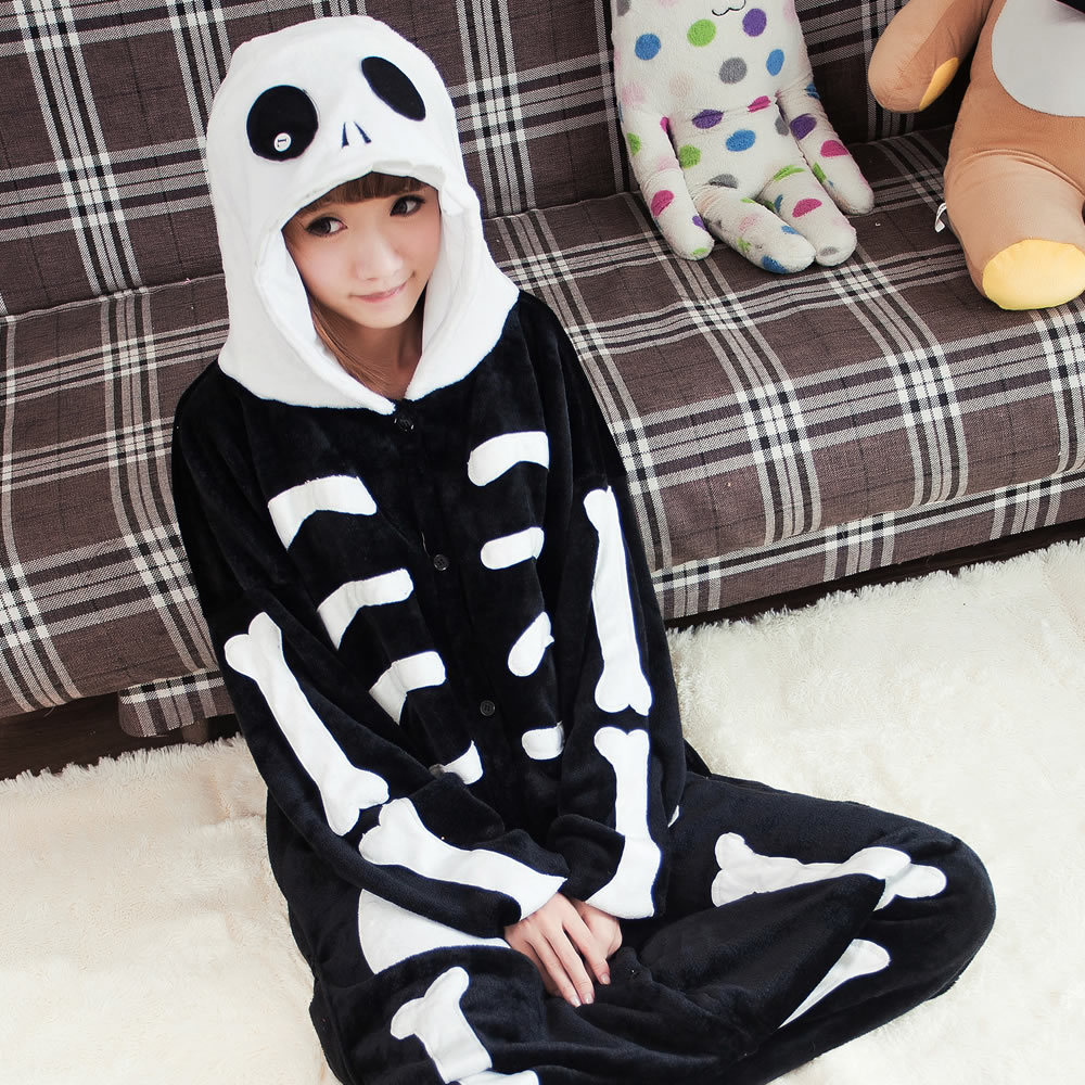 Unisex Adult Anime Adult Cosplay Costume Skeleton Skull Pajamas Onesie womens sleepwear jumpsuit(China (Mainland))