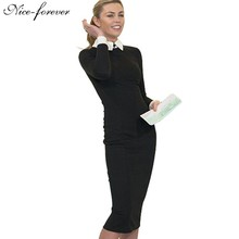 Nice-forever Career Women Autumn Turn-down Collar Fit Work Dress Vintage Elegant Business office Pencil bodycon Midi Dress 751(China (Mainland))