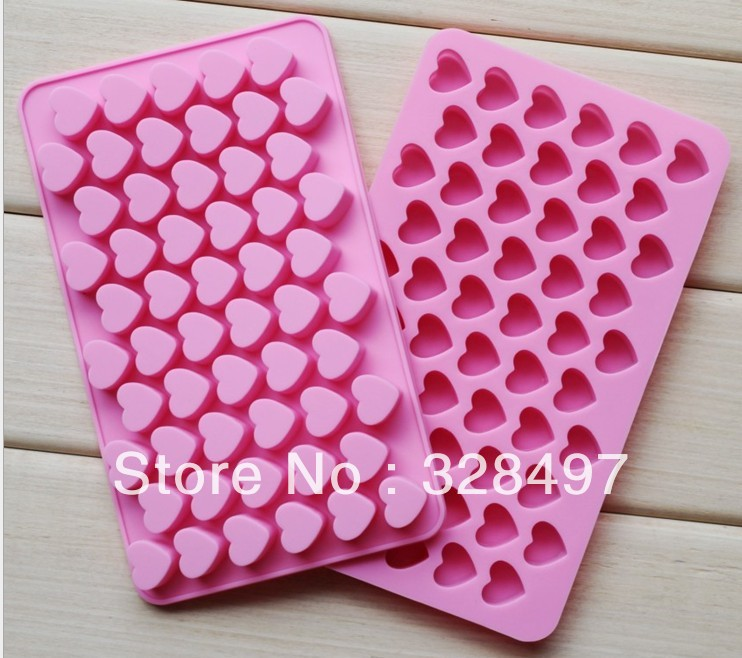 Free shipping silicone cake Chocolate Mold Jelly Mold Cake Moulds Bake ware 55pcs heart love D038(China (Mainland))